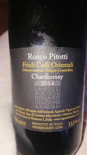 Ronco Pitotti, Chardonnay 2014 Vignai da Duline, retro